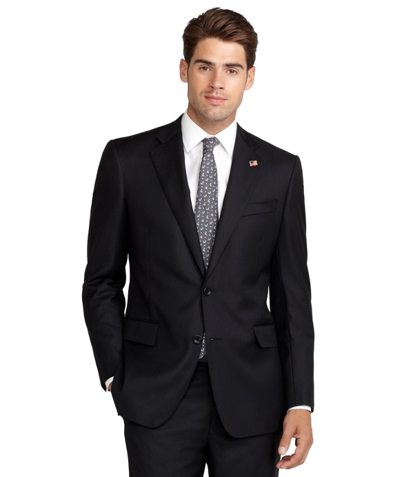 Regent Fit Saxxon Wool Mini Stripe 1818 Suit Black