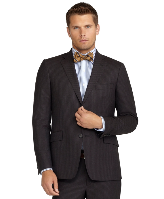 Regent Fit Mini Stripe 1818 Suit Brown