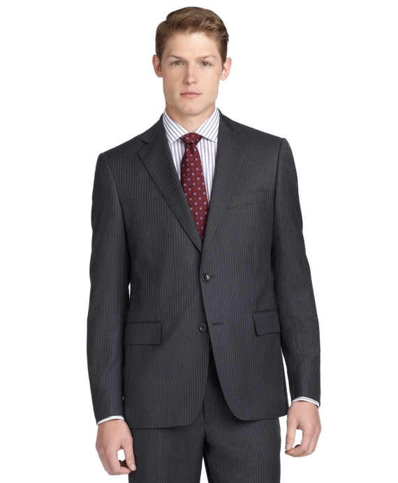 Regent Fit Narrow Stripe 1818 Suit Charcoal