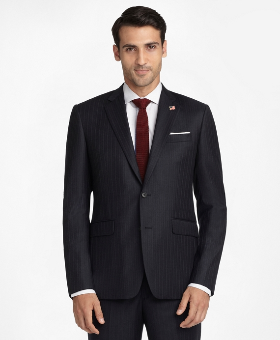 Milano Fit Saxxon Wool Pin-Dot Stripe 1818 Suit Blue
