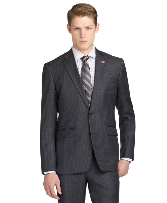 Milano Fit Saxxon Stripe 1818 Suit Grey