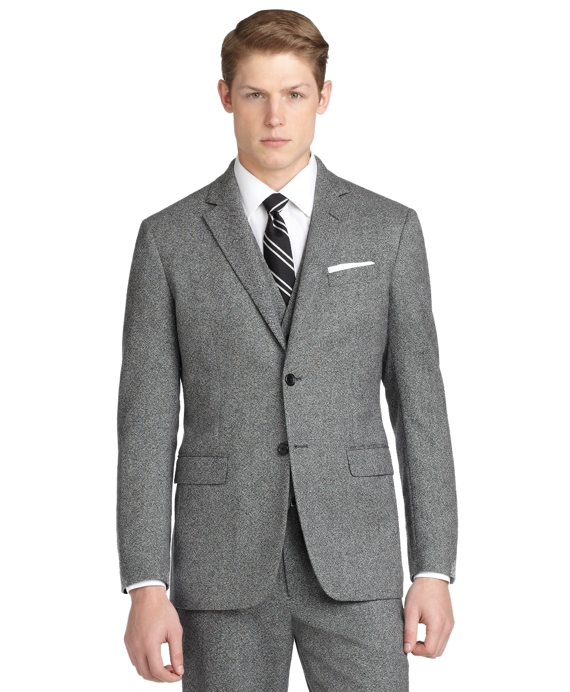 Milano Fit Donegal Tweed Three-Piece 1818 Suit Black-White