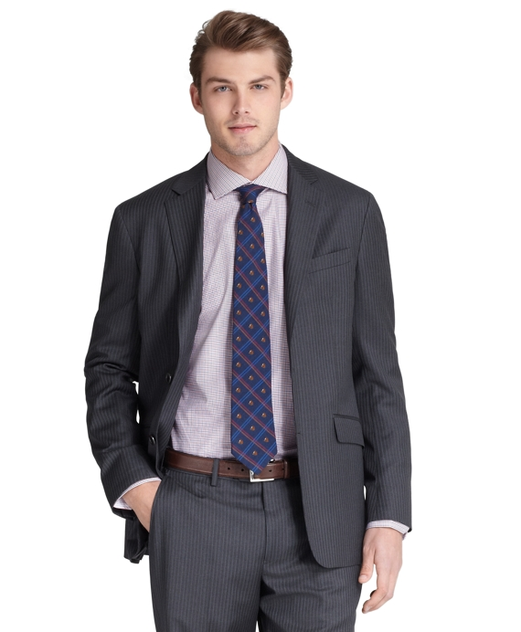 Milano Fit Narrow Stripe 1818 Suit Charcoal