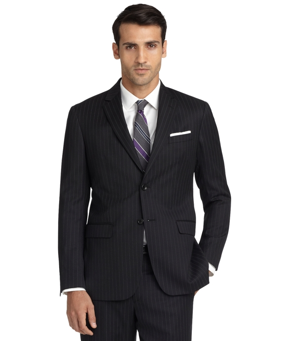 Milano Fit Double Track Stripe 1818 Suit Black