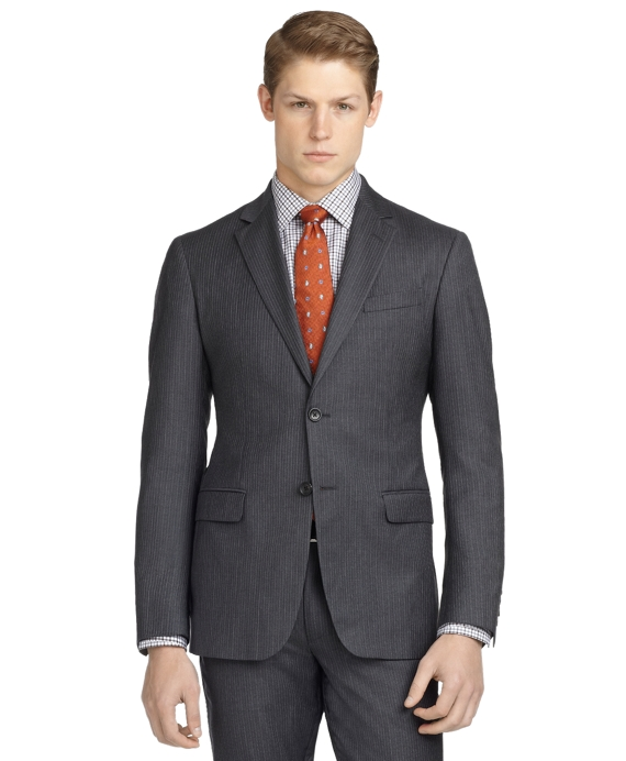 Milano Fit Alternating Stripe 1818 Suit Grey