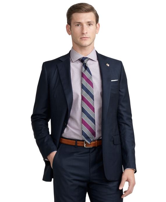Fitzgerald Fit Saxxon™ Wool Plaid Golden Fleece® Suit Navy