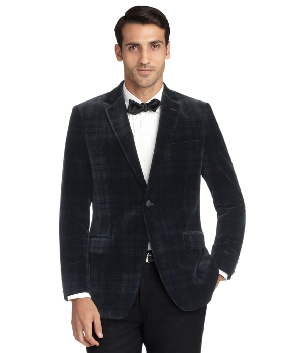 Fitzgerald Fit Velvet Blackwatch Tuxedo Jacket Black