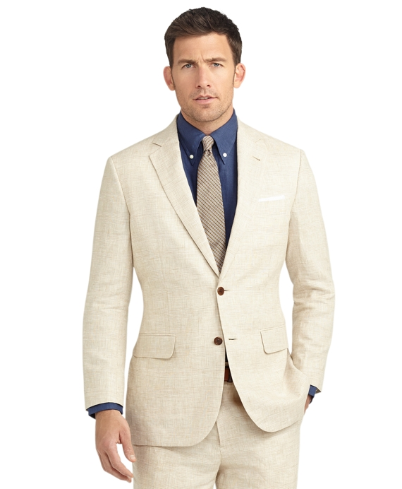 Madison Fit Plaid Linen Suit Beige
