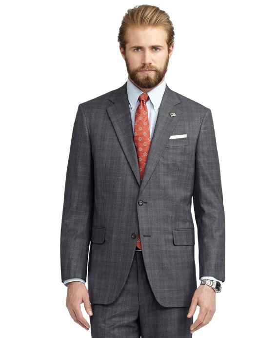 Madison Fit Plaid with Blue Deco Golden Fleece® Suit Grey