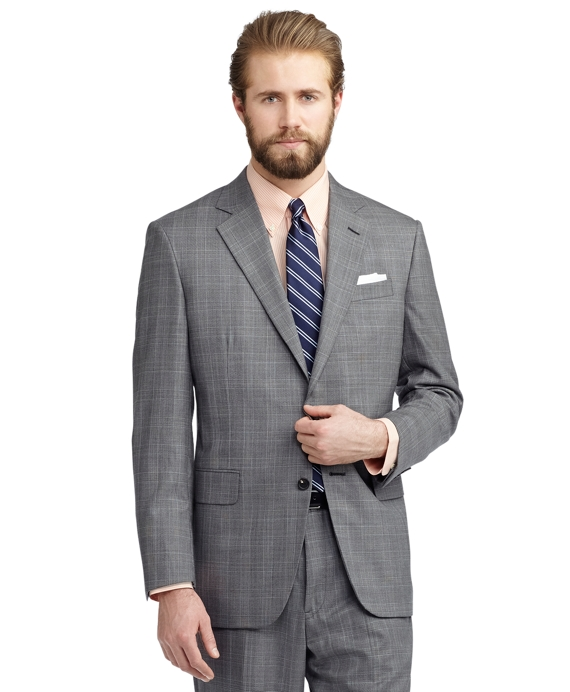 Madison Fit Plaid with Gold Deco Golden Fleece® Suit Light Grey