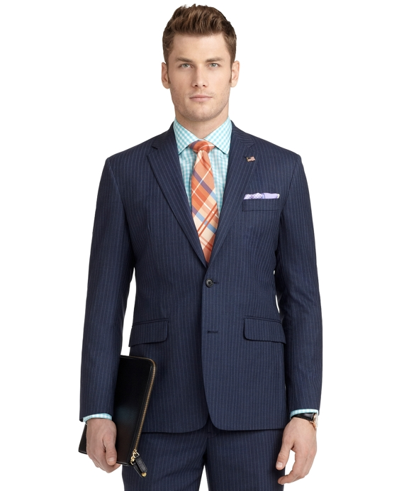 Milano Fit with Shadow and Mini Bead Stripe 1818 Suit Blue