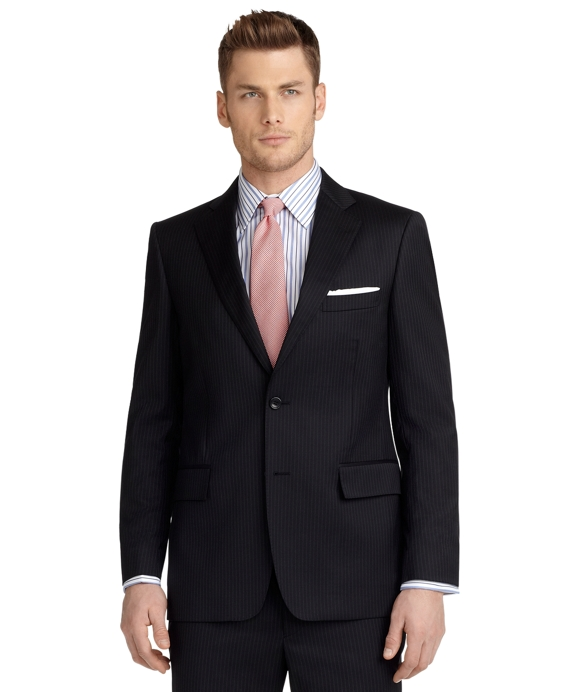 Regent Fit Double Track Stripe 1818 Suit Black