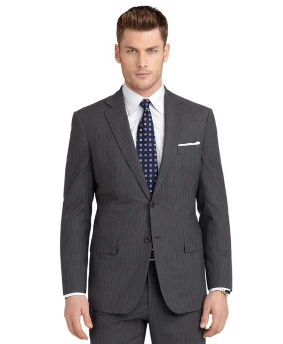 BrooksCool® Regent Fit Shadow and Micro Bead Stripe Suit Grey