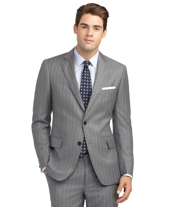 Regent Fit Mini Bead Double Stripe 1818 Suit Grey