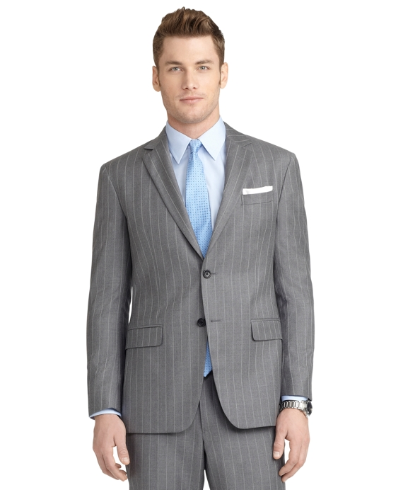 Milano Fit Mini Bead Double Stripe 1818 Suit Grey