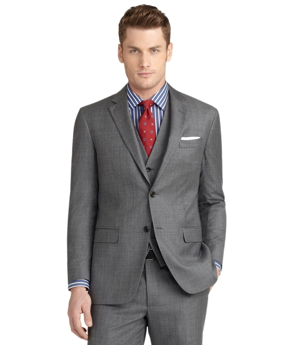 Milano Fit Sharkskin Three-Piece 1818 Suit Grey