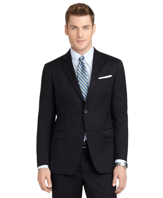 Milano Fit Rope Stripe 1818 Suit Black