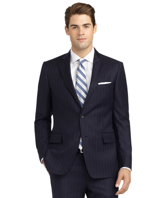 Regent Fit Alternating Track Stripe 1818 Suit Navy