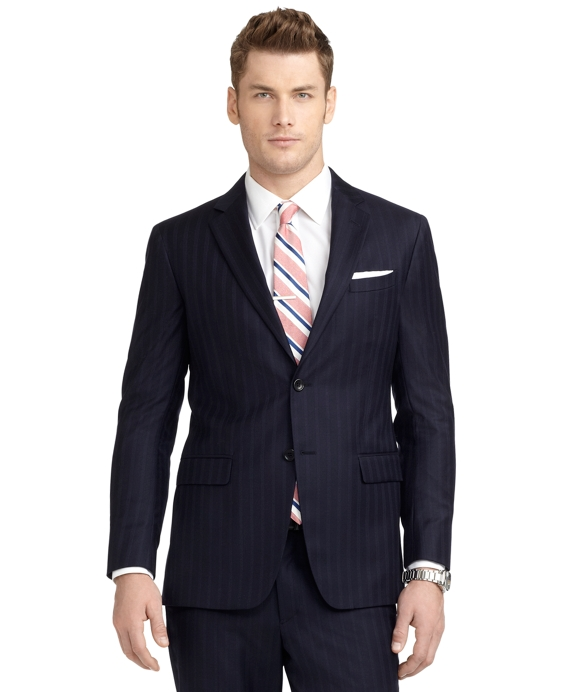 Milano Fit Alternating Track Stripe 1818 Suit Navy