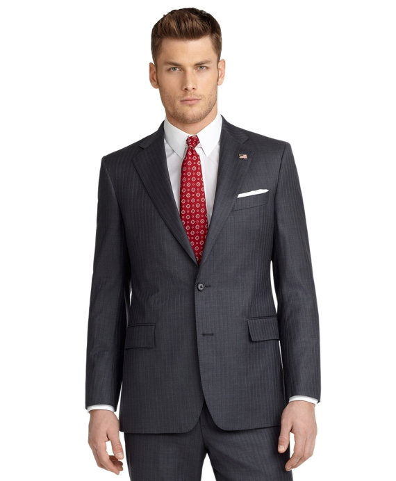 Regent Fit Saxxon Shadow Blue Rope Stripe 1818 Suit Grey