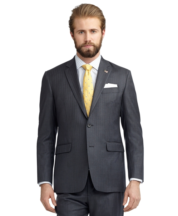 Milano Fit Saxxon Shadow Blue Rope Stripe 1818 Suit Grey