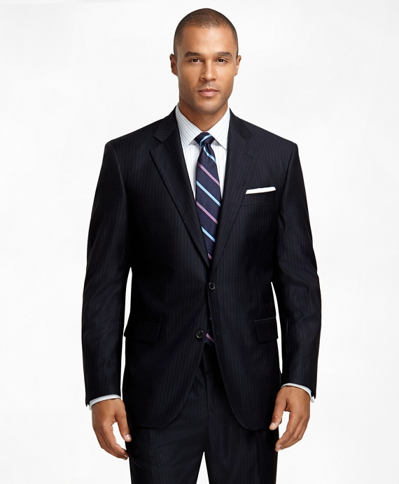 Madison Fit Saxxon  Wool Stripe and Shadow Stripe 1818 Suit Navy