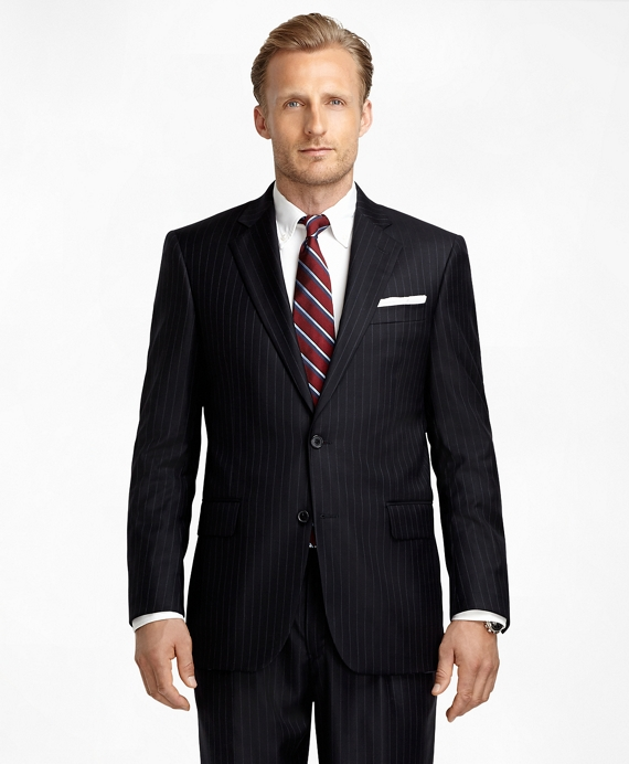 Madison Fit Saxxon Wool Blue and White Alternating Stripe 1818 Suit Navy