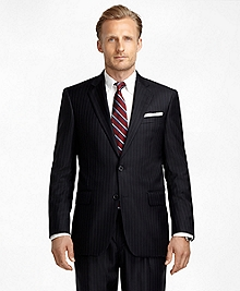 Madison Fit Saxxon Wool Blue and White Alternating Stripe 1818 Suit