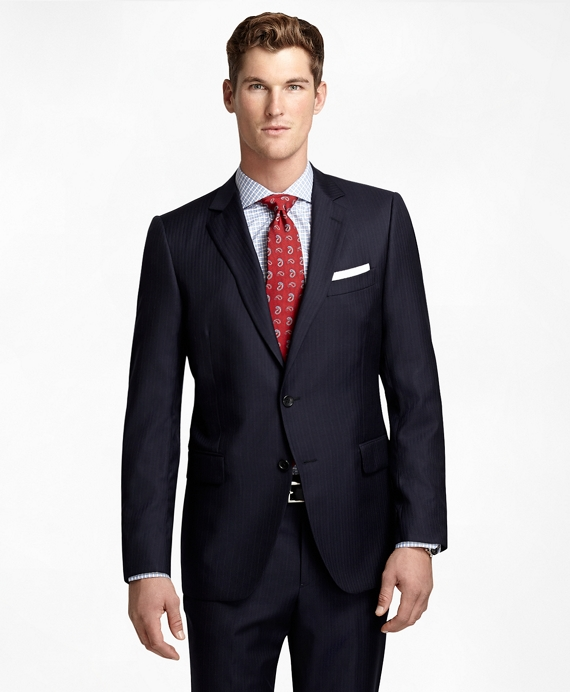 Fitzgerald Fit Herring Track Stripe 1818 Suit Navy
