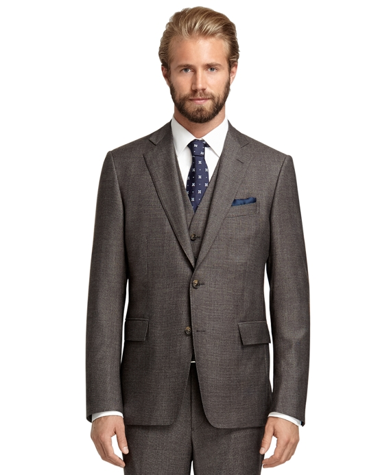 Regent Fit Tic Three-Piece 1818 Suit Brown
