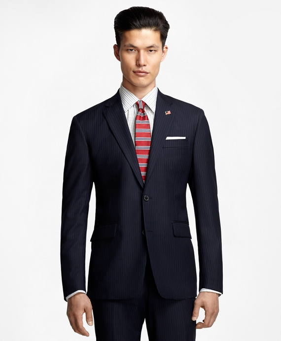 Milano Fit Saxxon Wool Alternating Stripe 1818 Suit Navy