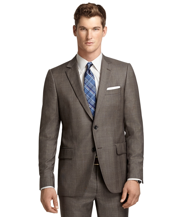 Fitzgerald Fit Brown Plaid with Blue Deco 1818 Suit Brown
