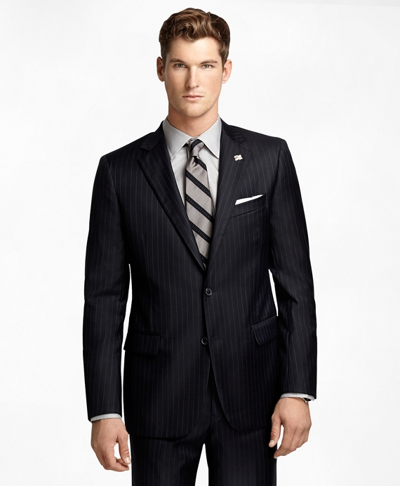Fitzgerald Fit Saxxon Wool Blue and White Alternating Stripe 1818 Suit Navy