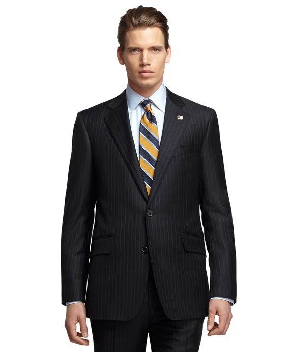 Regent Fit Saxxon Wool Blue and White Alternating Stripe 1818 Suit Navy