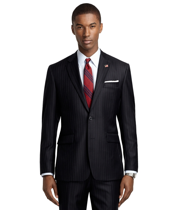 Milano Fit Blue and White Saxxon Wool Alternating Stripe 1818 Suit Navy