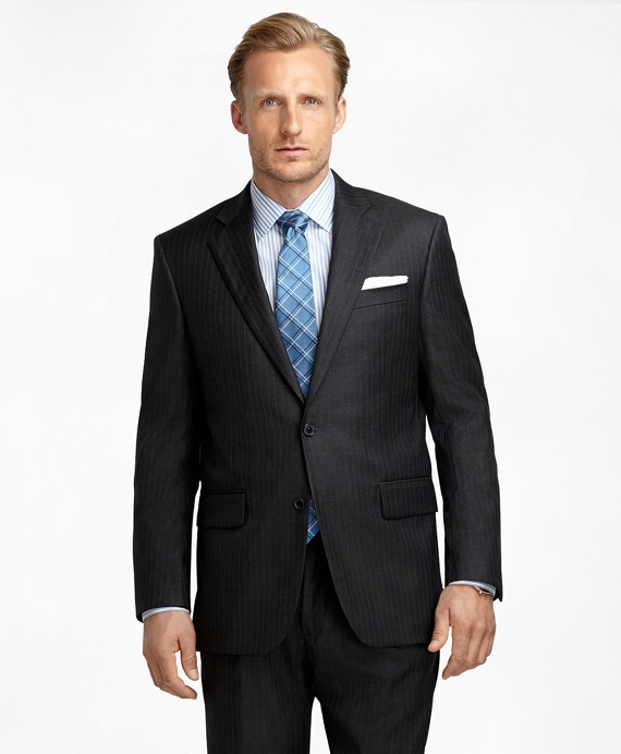 Madison Fit Saxxon Wool Bead Stripe 1818 Suit Charcoal