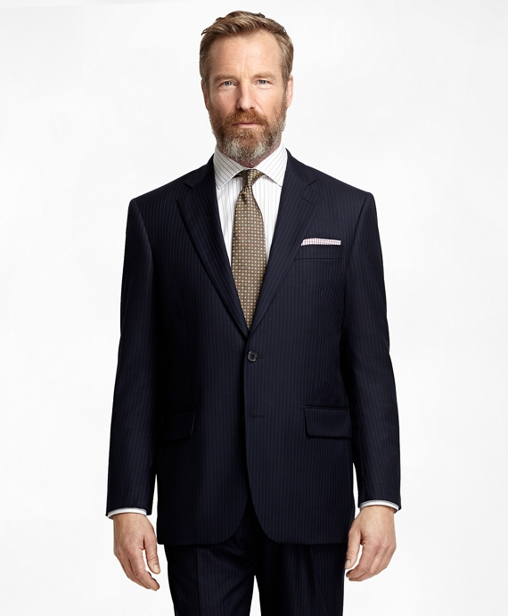 Madison Fit Saxxon Wool Alternating Stripe 1818 Suit Navy