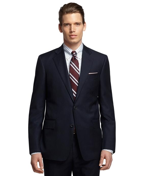 Regent Fit Saxxon Wool Alternating Stripe 1818 Suit Navy