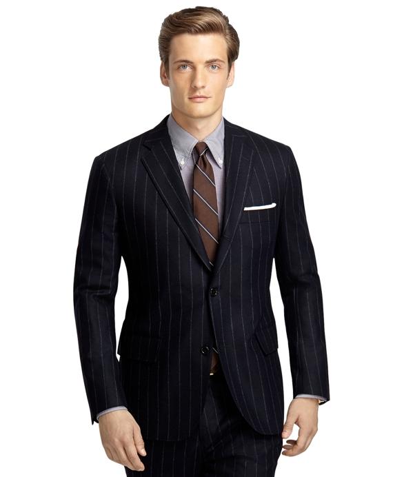 Own Make 101 Wide Chalk Stripe Flannel Suit Navy