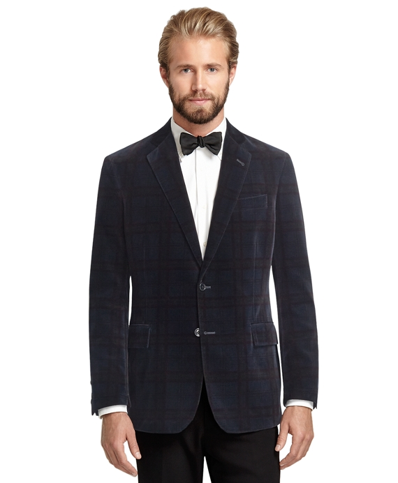 Regent Fit Tartan Velvet Dinner Jacket Navy