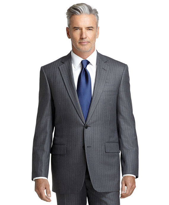 Madison Fit Saxxon Wool Bead Stripe Golden Fleece® Suit Grey