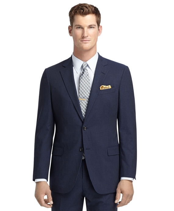 Fitzgerald Fit Blue Mini Rope Stripe BrooksCool® Suit Blue