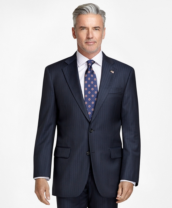 Madison Fit Saxxon™ Wool Track Stripe 1818 Suit Navy