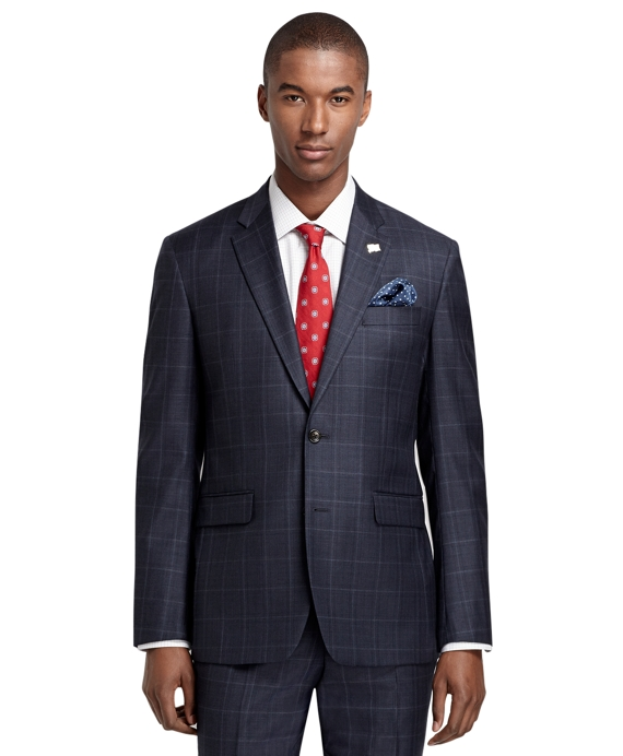 Milano Fit Saxxon Plaid Windowpane 1818 Suit Blue
