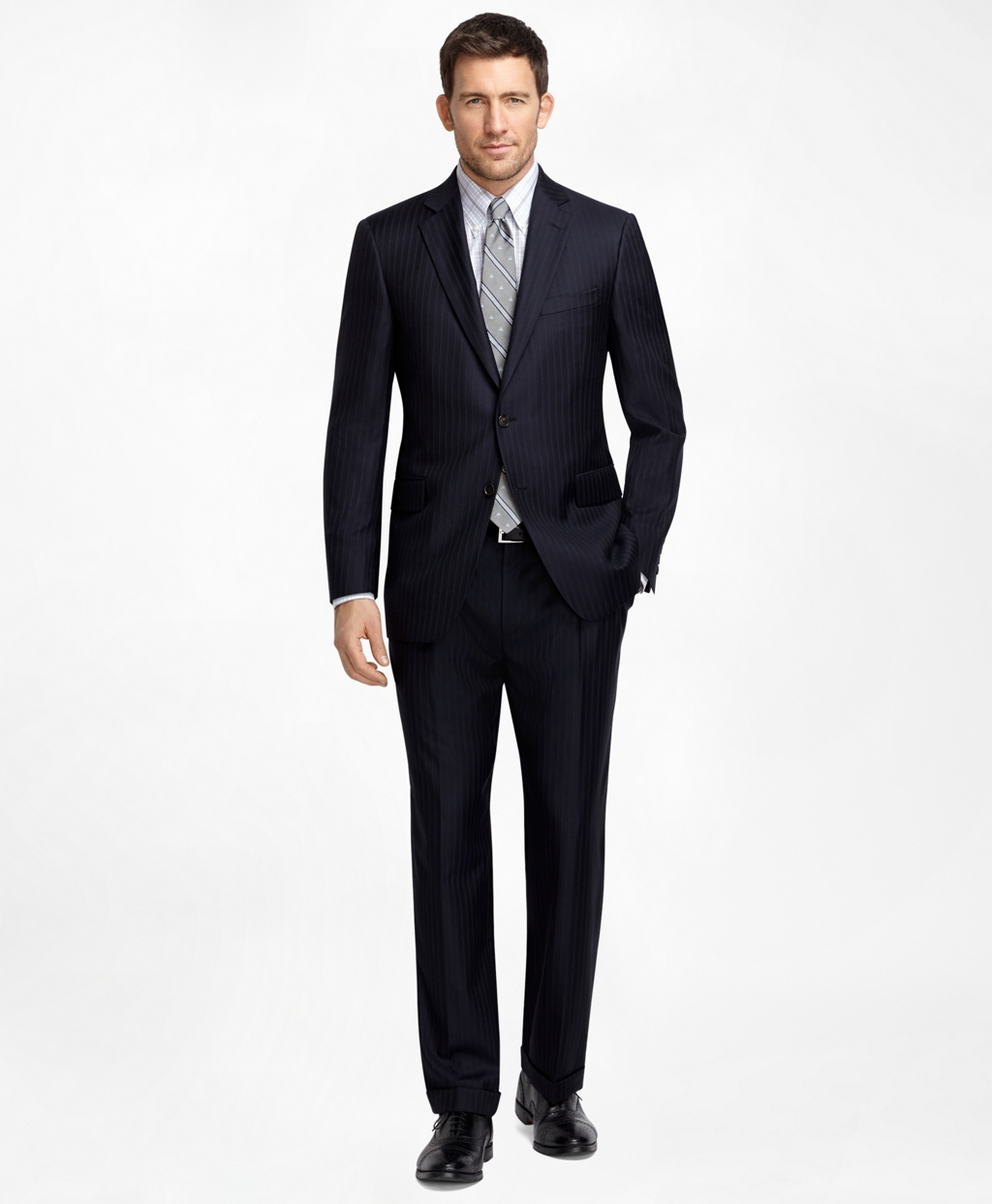 Men's Regular Fit Navy Pinstripe 1818 Suit | Brooks Brothers