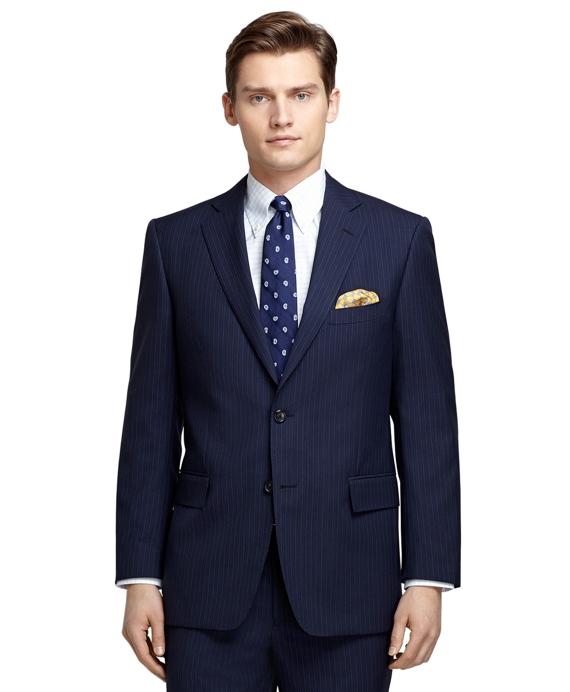 Regent Fit Blue Bold Alternating Stripe 1818 Suit Blue