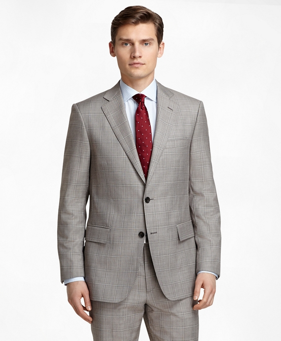 Regent Fit Tan Sharkskin with Windowpane 1818 Suit Tan