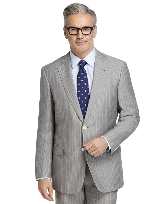 Regent Fit Wool and Linen Striped Suit Grey