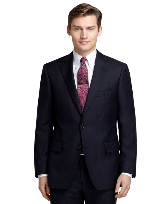 Regent Fit Navy with Blue and White Bead Stripe 1818 Suit Navy
