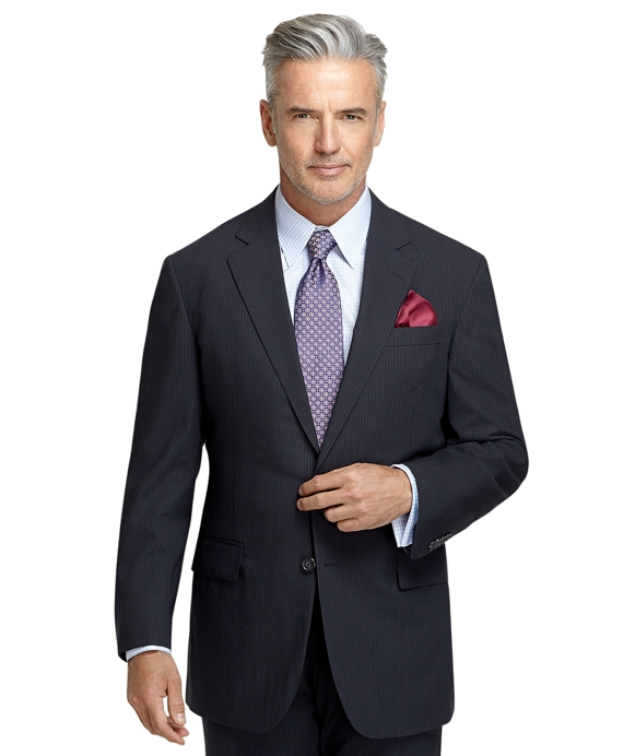 BrooksCool® Madison Fit Navy with White and Blue Alternating Micro Bead Suit Navy